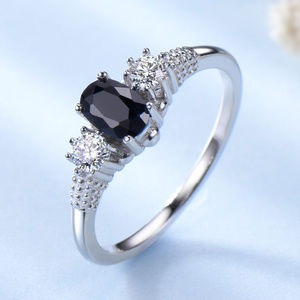 Blue Sapphire Engagement Ring 3 Stone Silver Ring